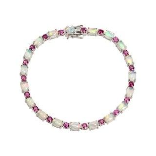 """Pinctore Sterling Silver 7.25"""" Ethiopian Opal & Rhodolite Line Bracelet"""
