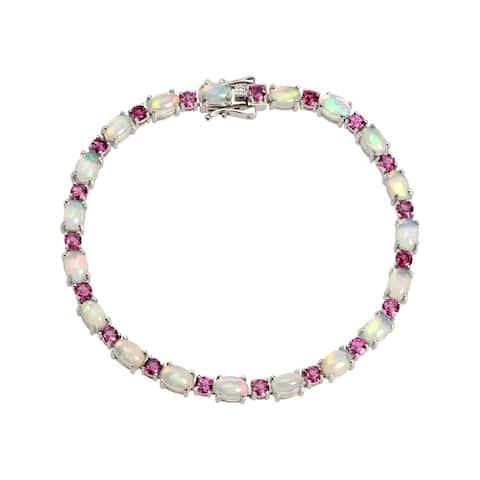 "Sterling Silver 7.25"" Ethiopian Opal & Rhodolite Line Bracelet"