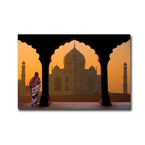 Taj Mahal Sunset by Jim Zuckerman Gallery Wrapped Canvas Giclee Art (24 in x 36 in, Ready to Hang)