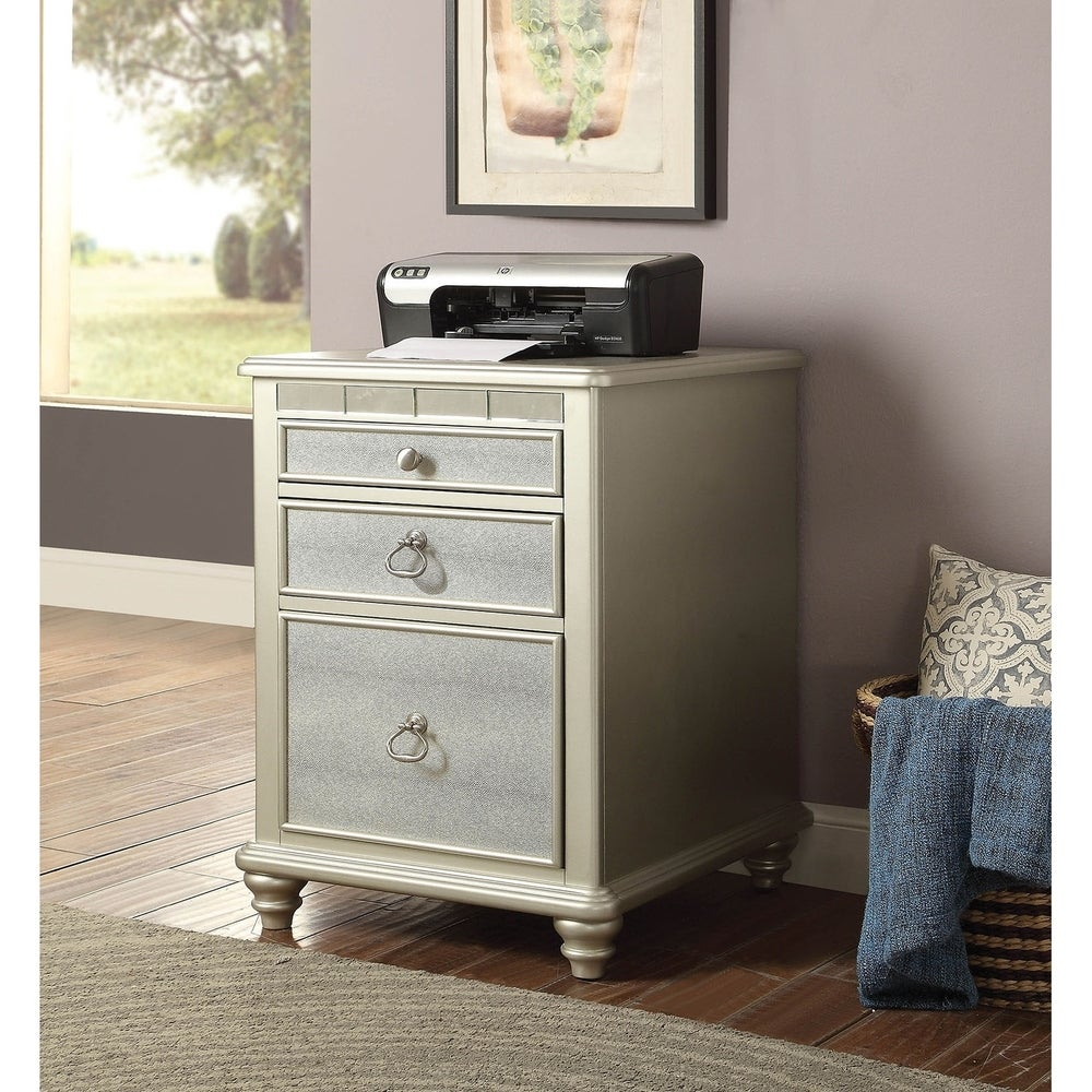 Benzara Three Drawers Wooden File Cabinet with Mirrored Trim Accents, Silver (Off-White)