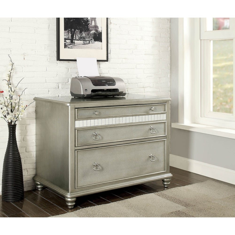 Benzara Spacious Wooden File Cabinet with Mirrored Trim Accents, Silver