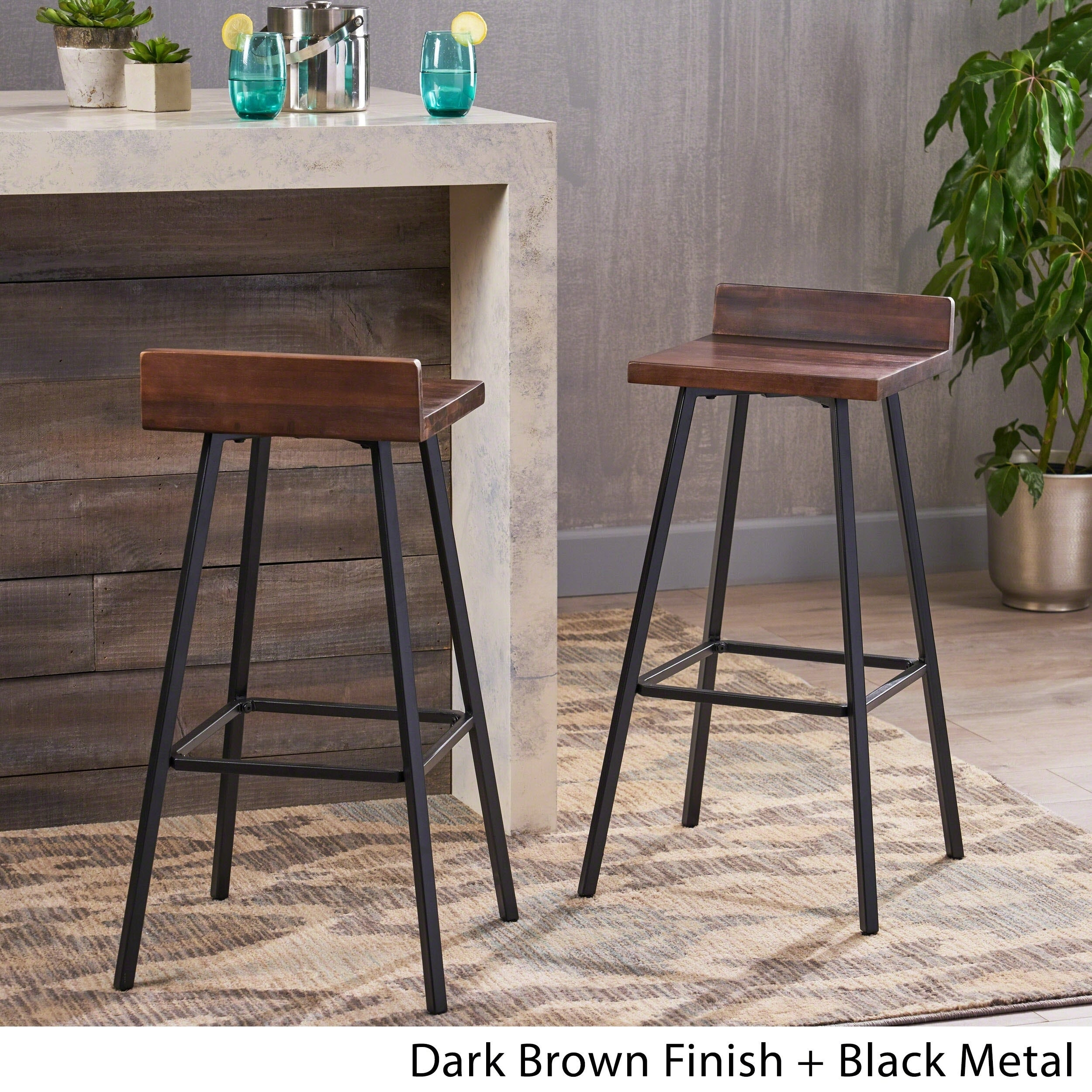 Bidwell Contemporary Indoor Acacia Wood Bar Stools (Set of 5) by  Christopher Knight Home