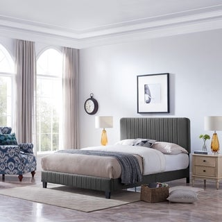 Bradbury Contemporary Fully-Upholstered Queen-Size Bed Frame by Christopher Knight Home