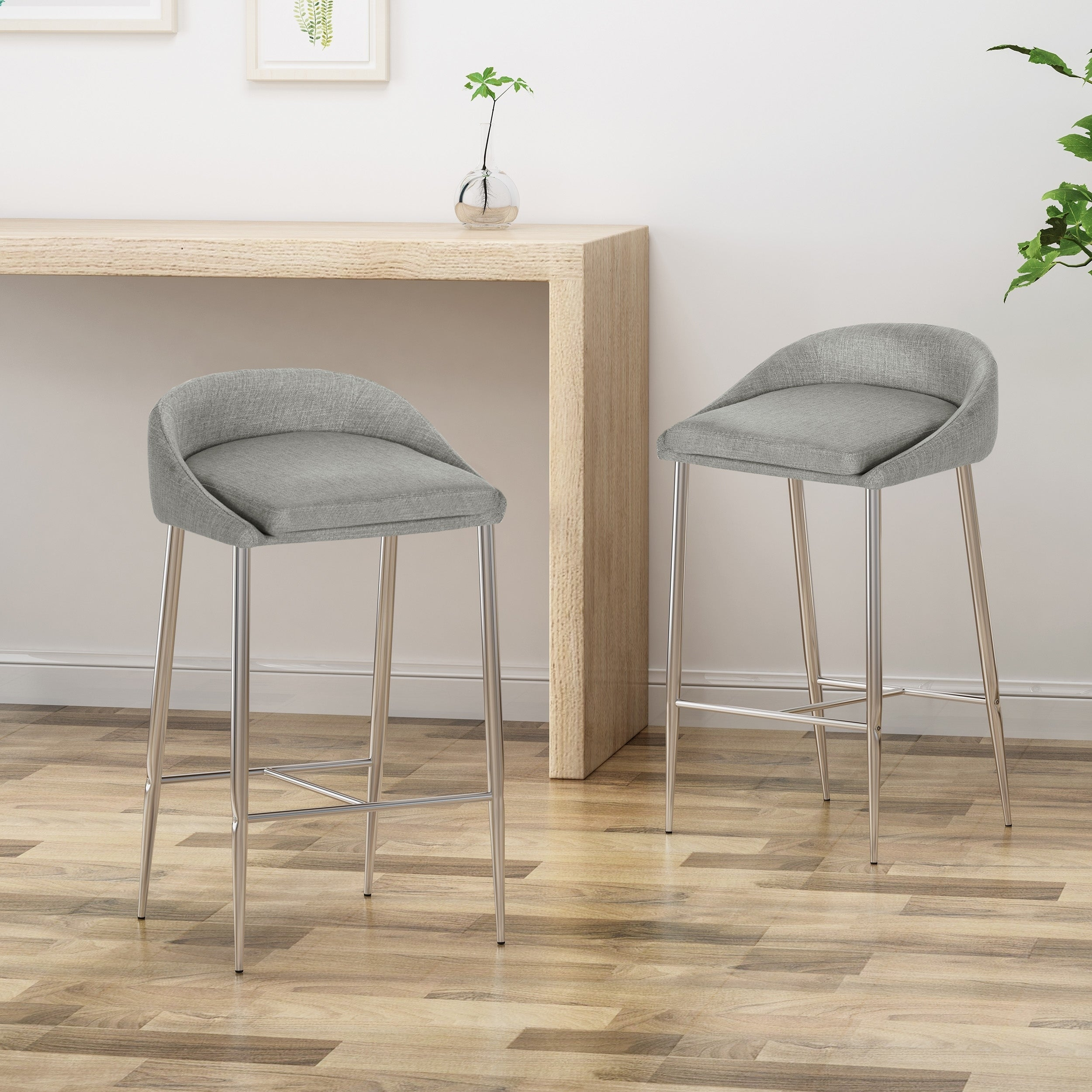 Picture of: Bandini Modern Upholstered Counter Stools With Chrome Legs Set Of 2 By Christopher Knight Home On Sale Overstock 24151992 Red Chrome