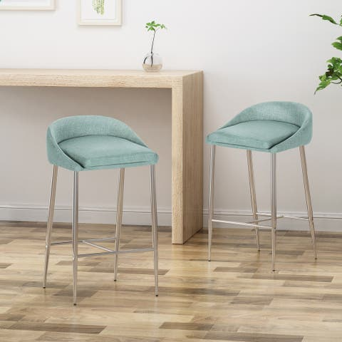 Bandini Modern Upholstered Counter Stools with Chrome Legs (Set of 2) by Christopher Knight Home