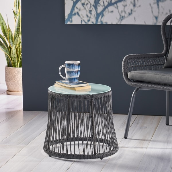 Tolovana Indoor Steel and Rope Side Table by Christopher Knight Home