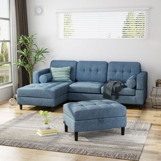 Florentia Upholstered 2-Piece Chaise Sectional Sofa Set with Storage Ottoman by Christopher Knight Home