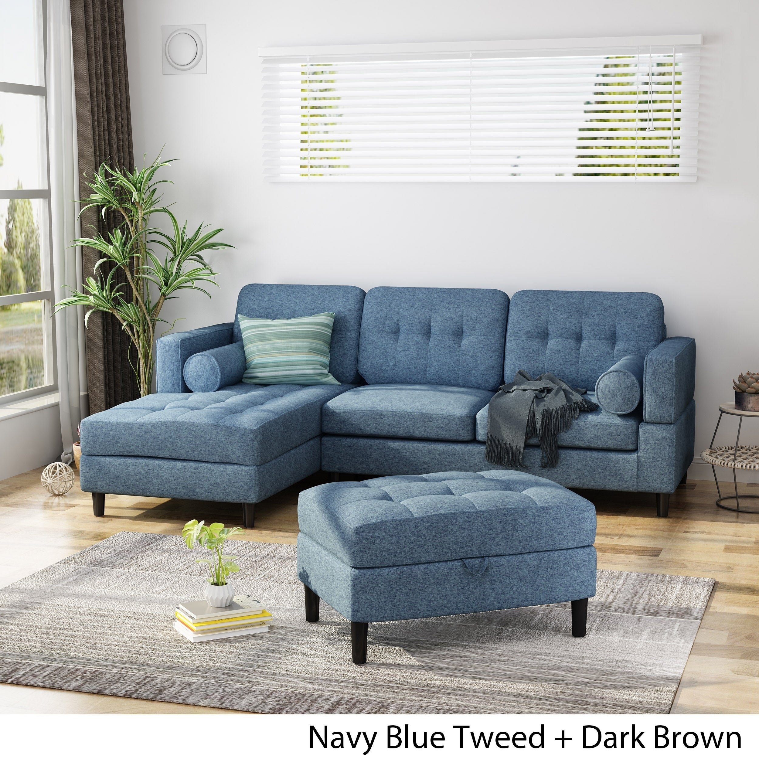 2 Piece Chaise Sectional Sofa Set
