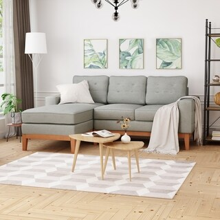 Welles Mid-Century 2-Piece Chaise Sectional Sofa Set With Tufted by Christopher Knight Home