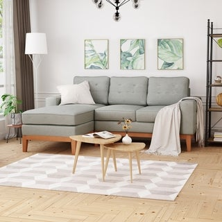 Link to Welles Mid-Century 2-Piece Chaise Sectional Sofa Set with Tufted by Christopher Knight Home Similar Items in Living Room Furniture