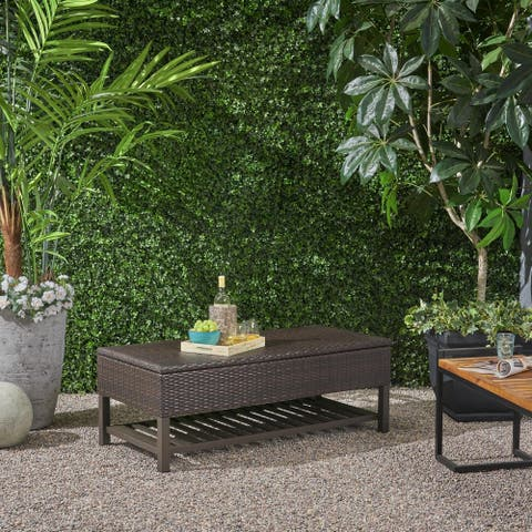 Regent Outdoor Wicker Storage Bench with Rack by Christopher Knight Home