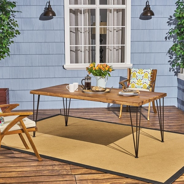 """Zion Outdoor 72"""" Rectangular Acacia Wood Dining Table with Hairpin Legs by Christopher Knight Home"""