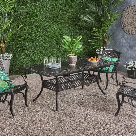 """Phoenix Outdoor 64"""" - 81""""Expandable Cast Aluminum Dining Table by Christopher Knight Home"""