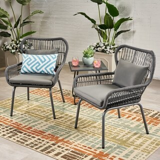Southport Outdoor Steel and Rope Club Chairs with Water-Resistant Cushions (Set of 2) by Christopher Knight Home