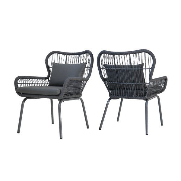 Southport Outdoor Rope Club Chairs with Water-Resistant Cushions (Set of 2) by Christopher Knight Home. Opens flyout.