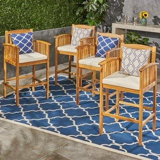 """Casa Outdoor 46"""" Acacia Wood Bar Stools with Cream Cushions (Set of 4) by Christopher Knight Home"""
