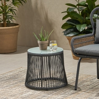 Southport Outdoor Steel and Rope Side Table with Tempered Glass Table Top by Christopher Knight Home