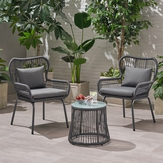 Southport Outdoor 2-Seater Conversation Set with Accent Table by Christopher Knight Home