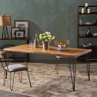 """Zion Indoor 72"""" Rectangular Acacia Wood  Dining Table with Iron Hairpin Legs by Christopher Knight Home"""