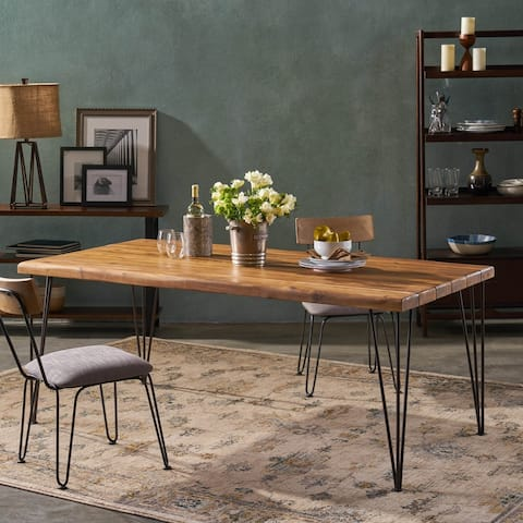 "Zion Indoor 72"" Rectangular Acacia Wood Dining Table with Hairpin Legs by Christopher Knight Home - teak finish + rustic metal"