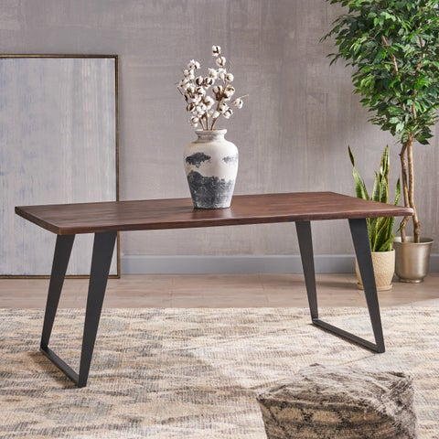Cavalier Contemporary Indoor 6-Seater Rectangular Acacia Wood Dining Table with Iron Legs by Christopher Knight Home