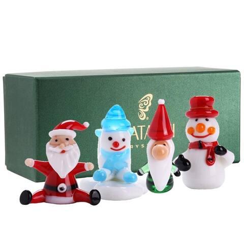 Set of (4) 2-inch Hand-blown Murano Glass Christmas Winter Decorative Glass Ornament Standing Figurines Set by Matashi