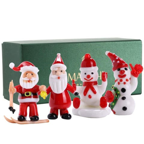 Matashi Set of (4) 2 in. Collectible Hand-blown Murano Glass Christmas Winter Decorative Glass Ornament Standing Figurines Set