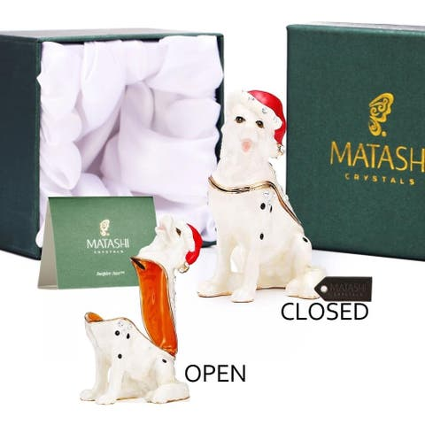 Hand-Painted Holiday Christmas Dog Trinket Box w/ Crystals By Matashi