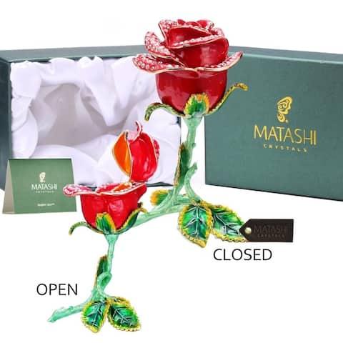 Matashi Rose Flower Trinket Box Hand-Painted Decorative Decor with Elegant Crystals