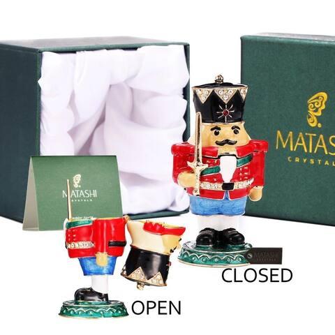 Nutcracker Trinket Box w/ Crystal & Hand-Painted Craftsmanship-Hold Jewelry Ornament by Matashi