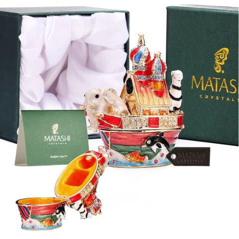 Matashi Noah Ark Trinket Box with Authentic, Hand-Painted Jewelry Holder