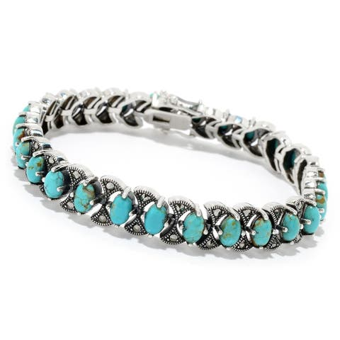 "Sterling Silver 7.25"" Oval #8 Turquoise & Marcasite Bracelet"