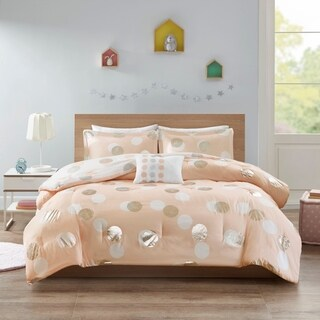 Mi Zone Evelyn Pink/ Silver Metallic Dot Print Reversible Comforter Set