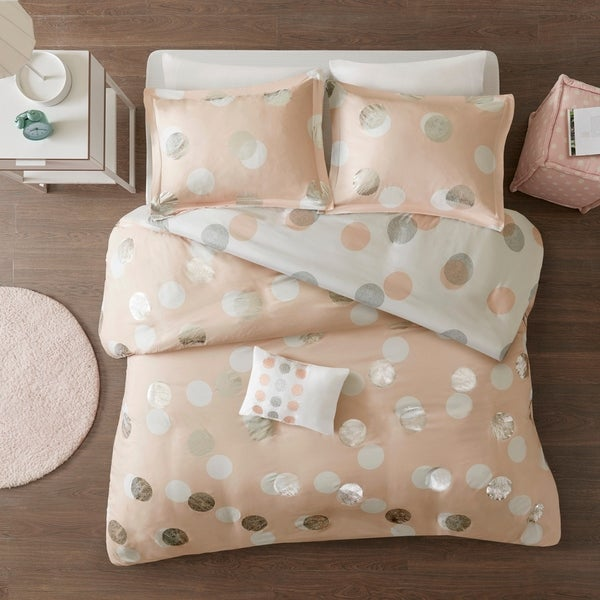 Mi Zone Evelyn Pink/ Silver Metallic Dot Print Reversible Duvet Cover Set