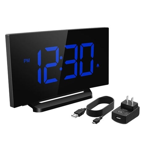Mpow Digital Alarm Clock, Curved-ccreen Clock with 3.75'' LED Display and Dimmer