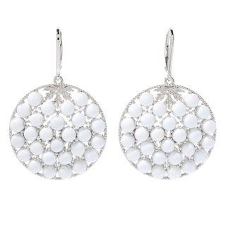 "Pinctore Sterling Silver 2"" White Prystine Cluster Disc Drop Earrings"