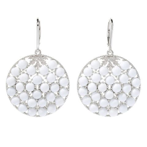 """Sterling Silver 2"""" White Prystine Cluster Disc Drop Earrings"""