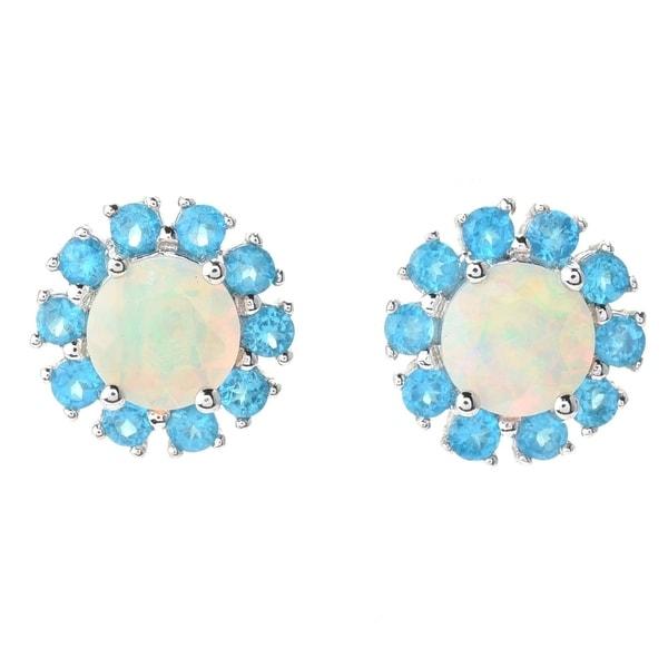 Pinctore Sterling Silver Ethiopian Opal & Neon Apatite Halo Stud Earrings