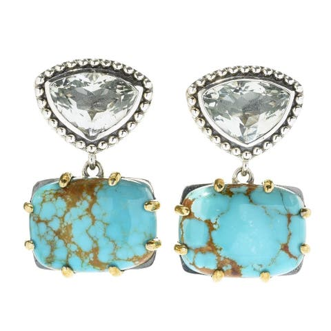 """Pinctore Sterling Silver 1"""" 15 x 11mm Cabochon & #8 Mine Turquoise Drop Earrings"""
