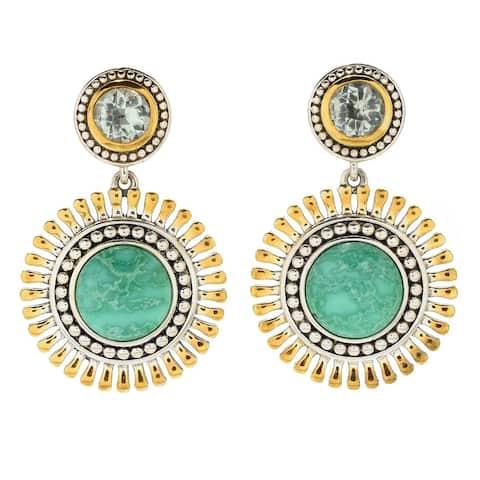 """Sterling Silver 1.5"""" Variscite & Gem Drop Earrings"""
