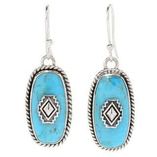 """Pinctore Sterling Silver 1.5"""" 20 x 10mm Kingman Mohave Turquoise Elongated Drop Earrings"""