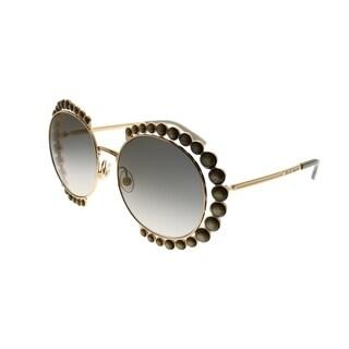 Elie Saab Round ES 025/G/S 84E_5B Women Gold Beige Frame Gold Mirror Gradient Zeiss Lens Sunglasses
