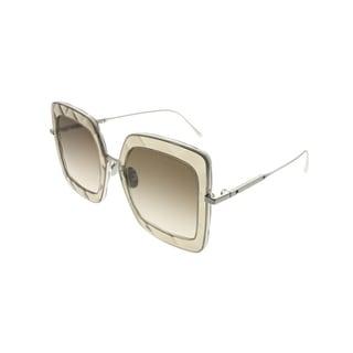 Link to Bottega Veneta Square BV 0209S 003 Women Brown Silver Frame Brown Gradient Lens Sunglasses Similar Items in Women's Sunglasses