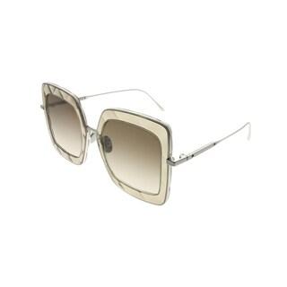Bottega Veneta Square BV 0209S 003 Women Brown Silver Frame Brown Gradient Lens Sunglasses