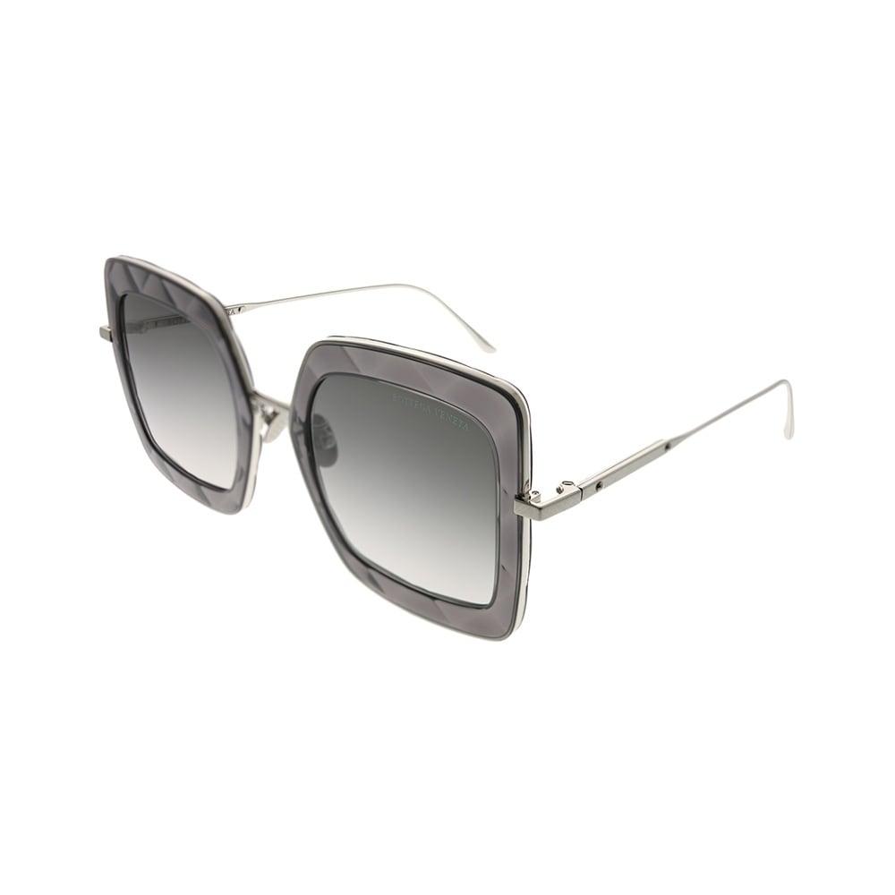 Bottega Veneta BV 0218SK 002 Grey Plastic Cat-Eye Sunglasses Silver Flash Lens