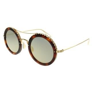 Elie Saab Round ES 001/S 06J_O3 Women Gold Havana Frame Gold Mirror Gradient Zeiss Lens Sunglasses