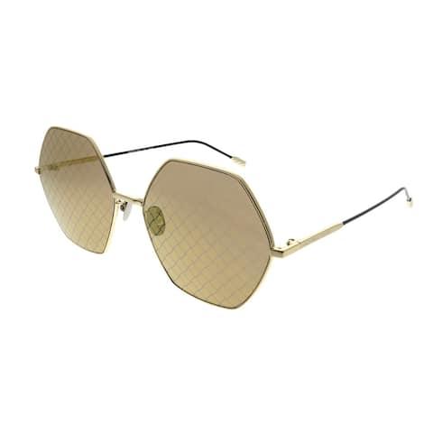 Bottega Veneta Fashion BV 0201S Hexagon 003 Unisex Gold Frame Gold Intrecciato Printed Lens Sunglasses