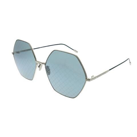 Bottega Veneta Fashion BV 0201S Hexagon 002 Unisex Silver Frame Blue Intrecciato Printed Lens Sunglasses