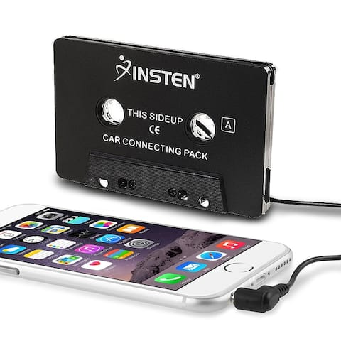 INSTEN Black Universal Car Audio Cassette Adapter for iPod/ Samsung S9+/ S9/ S8/ S8+/ MP3/ Apple iPhone 6