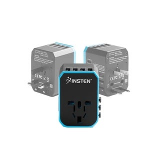 INSTEN 5-Port Worldwide Travel Adapter [Quad 2.4A USB + 3.0A Type C] Wall Charger for US/EU/UK/AUS